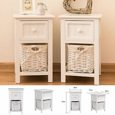 Pair of Bedside Cabinets White Shabby Chic Table Unit  2 Drawers Storage Bedroom