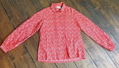 Vintage 1970s Laura Ashley Blouse Red & pink Floral ditsy Print 10 12