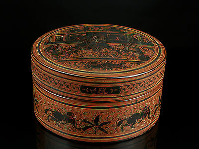 An Inscribed 19th c. Burmese Lacquered Betel Box, Figurative Decoration.