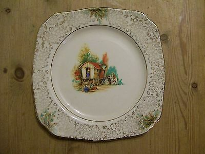 PLATE WITH TWO GYPSY CARAVANS c1940s VERY GOOD USED CONDITION.