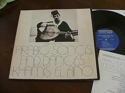 KHAMIS EL FINO ARABIC SONGS AND DANCES FOLKWAY RECORDS 1974 + Insert