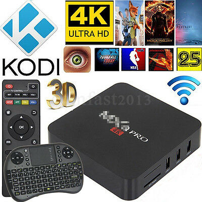 MX Pro Quad Core 4K Android 5.1 TV Box Fully Loaded WIFI HD M8S + Keyboard UK