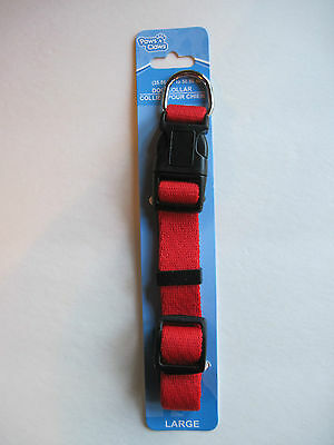 """Paws N Claws RED Durable Nylon Adjustable Dog Collar (14""""-20""""), FREE S&H"""