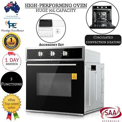 Electric Fan Forced Wall Oven Stainless Steel Grill Built In Glass Door 60cm New