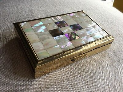 Beautiful Vintage Working Musical Powder Compact Mother Of Pearl