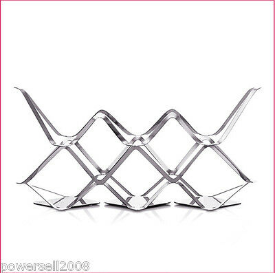 New European Decoration Stainless Steel 8 Bottles Wine Rack Holder Storage &$