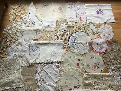 Lot of Vintage embroidered crocheted and lace doilies for craft