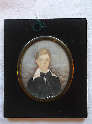 Framed Miniature Georgian Watercolour On Board Painting Portrait Of A Young Man