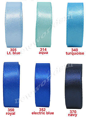 "6y 50mm 2"" Mixed Blue Shades Premium Single Sided Satin Ribbon Eco FREE PP"