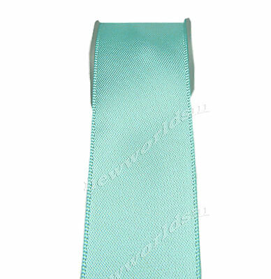 "8y 25mm 1"" Aqua Premium Single Sided Faced Satin Ribbon Eco Holiday FREE PP"