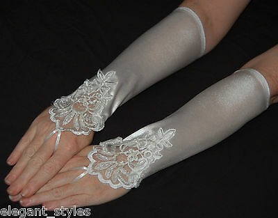 Beads & Lace White Fingerless gloves stretch satin bridal formal wedding prom