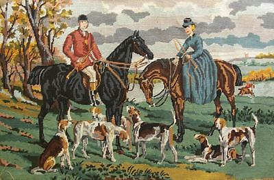 """Vintage completed cotton needlepoint Fox hunting by Sir Francis Grant 24.2""""x36"""""""