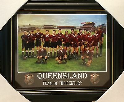 Framed Queensland State Of Origin Team Of The Century 8x10 Print. Rugby league