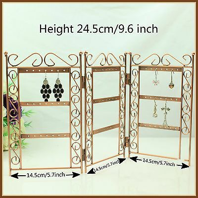 New Foldable Brown Earrings Jewelry Display Organizer Stand Holder Metal Screen