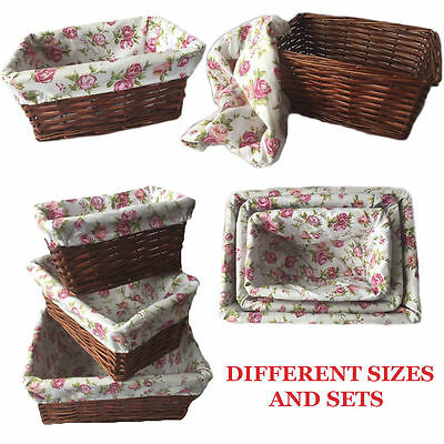 Wicker Storage Basket Christmas Gift Hamper with Lining Small Medium Large