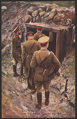 The King at the Front. Outside a Captured Hun Dug-Out. WW1 Daily Mail Postcard
