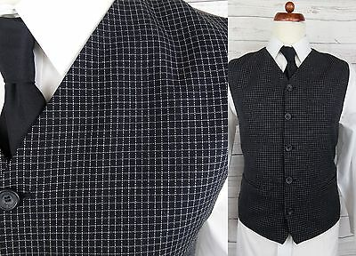 Vtg Single Breast High Fit Black Check Wool Waistcoat -40- DF90