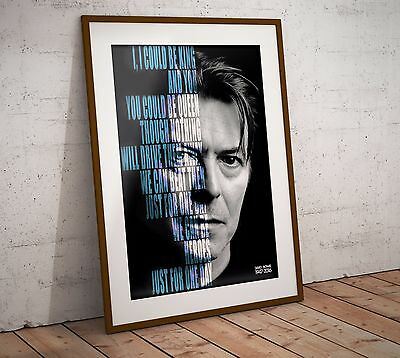 David Bowie 'Heroes' Lyrics Print/Poster In Two Sizes NEW 2017 Exclusive