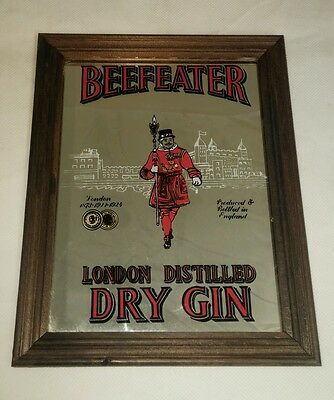 """London Distilled Dry Gin 'Beefeater' Bar Pub Wooden Framed Mirror 9"""" x 7"""" - USED"""