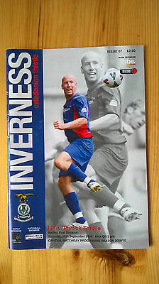 INVERNESS CALEDONIAN THISTLE v PARTICK THISTLE – 26.09.09 – PROGRAMME