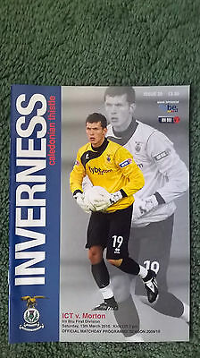INVERNESS CALEDONIAN THISTLE v MORTON – 13.03.10 – PROGRAMME – GOOD CONDITION