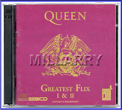 "Queen ""greatest Flix Volume 1 & 2"" Rare Uk 2-Video Cd Disc Set W/16 Pg Booklet"