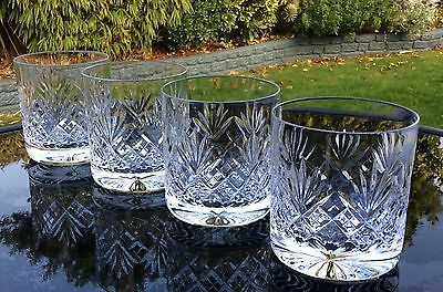 Set Of 4 Royal Doulton Straight Sided Whisky Glasses. Juno Cut Pattern,Signed.
