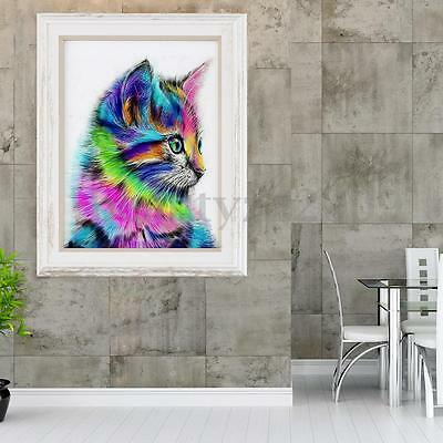 5D DIY Diamond Painting Colorful Cat Animal Embroidery Craft Cross Stitch Decor