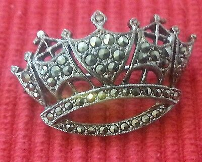Solid silver vintage marcasite crown brooch.stamped silver.