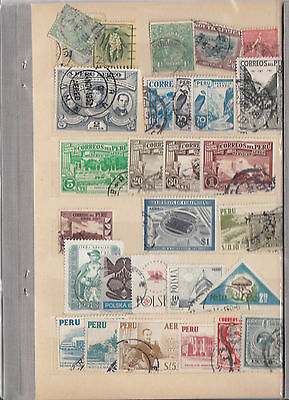 World Stamps On A Page Mostly Peru