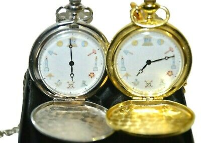 MASONIC POCKET WATCH COLOURED SYMBOLS GOLD or SILVER WITH or WITHOUT ENGRAVING