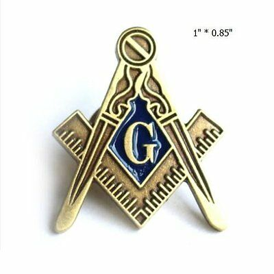 """Masonic Antique Blue Lodge large square and compass lapel pin 1"""""""