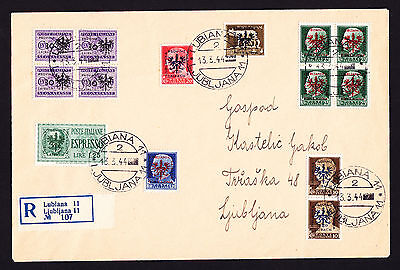 German occupation Slovenia Liabach Italian Italy stamps on registered 1944 cover