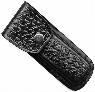 BLACK LEATHER SHEATH FOR 4.5 to 5 INCH CLOSED FOLDING KNIFE SH202
