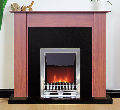 Fireplace Suite Electric Fire Heater Mahogany Surround Black Back Panel Hearth