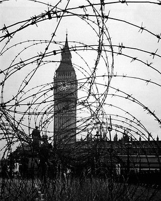 New 8x10 World War II Photo: Big Ben & Houses of Parliament Behind Barbed Wire