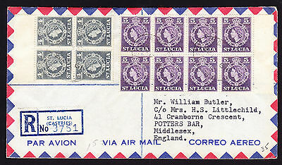 1961 St Lucia QEII stamps in blocks on registered cover from Castries to England