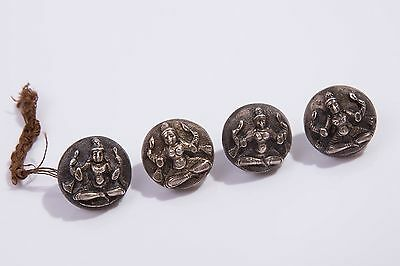 Set of 4 C1880 Antique Indian Solid Swami Silver Indian Hindu Goddess Buttons