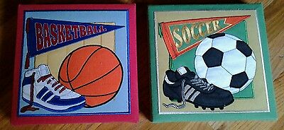 Toddlers room wall decore sports  plaques set of 2