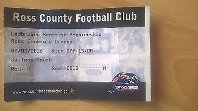 ROSS COUNTY v DUNDEE – SCOTTISH PREMIERSHIP – 06.08.16 – USED TICKET