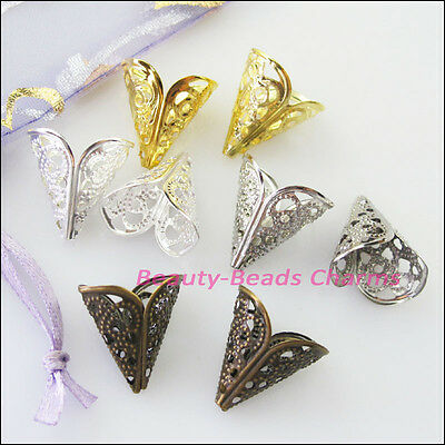 35Pcs Leef Flower Cone End Bead Caps Connectors 16mm Gold Silver Bronze Plated