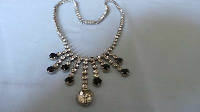 Vintage  necklace, black & clear rhinestones  19ins length