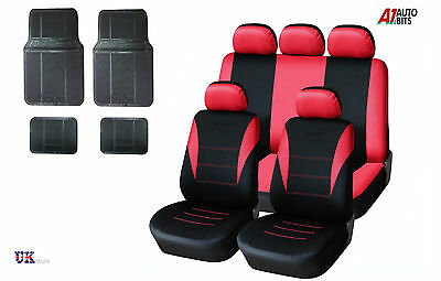 Sporty To Fit Renault Clio Megane Scenic Red Car Seat Covers & Rubber Mats Set