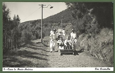 Madeira Portugal Carro Do Monte. Old Postcard Basket Sledge B&W early-mid C20th