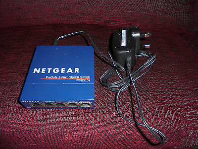 NetGear ProSafe 5 Port Gigabit Ethernet Switch GS105 with power supply