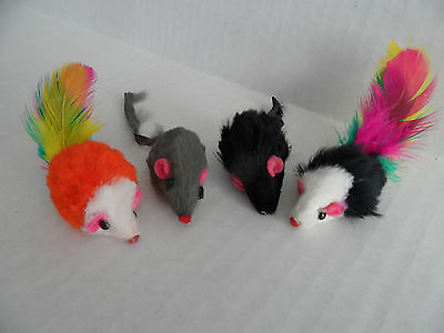 Cat Kitten Real Fur Mice Toy (Pack of 4)