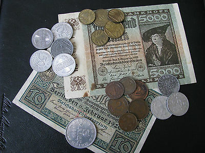 Lot of 20 German coins and two bills