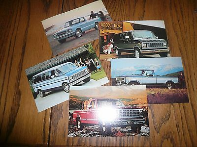 1980's Ford 3 Pickups 2 Econoline Postcard - (5) Package Lot of Cards