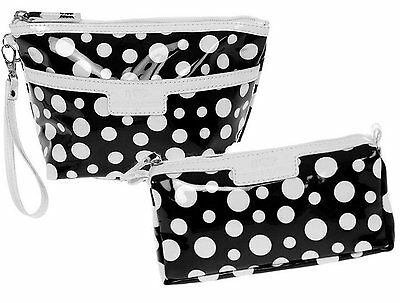 Cosmetic and Wash Bag Set Black & White Polka Dot Spotty Toiletry Bags