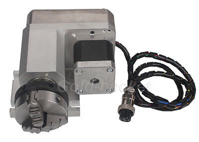CNC Router Rotational Rotary Axis 50F Style A-Axis, 4th-Axis 3-jaw Scroll Chuck